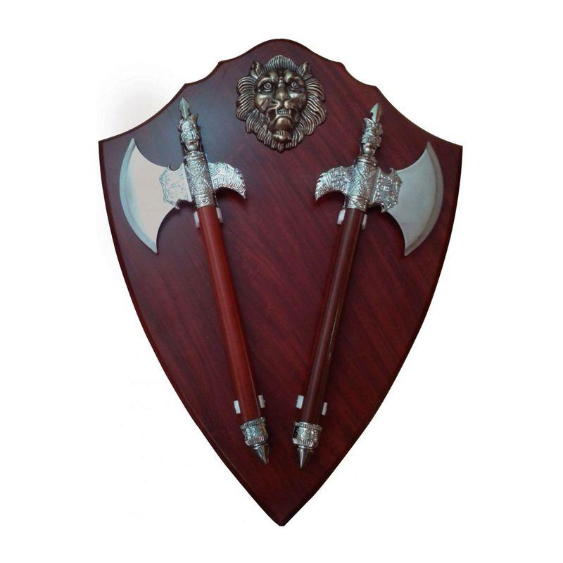 Escudo Medieval Grande  Brasão com Machados   - Thata Esportes