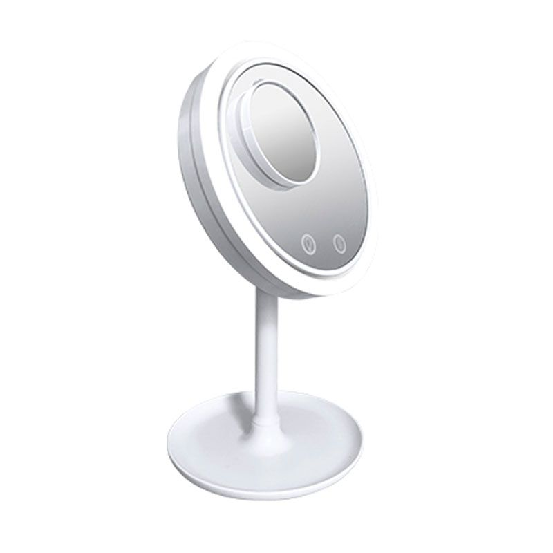 Espelho de Mesa Maquiagem 20 cm com Luz LED Ventilador USB 5x Zoom  - Thata Esportes