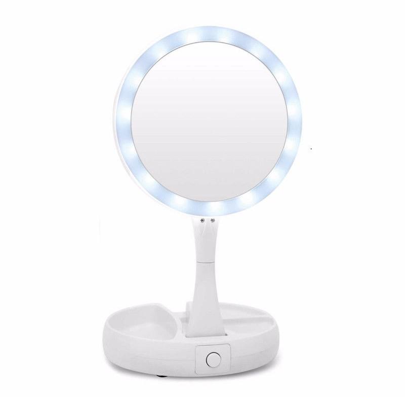 Espelho Dupla Face Porta Maquiagem Dobrável LED  - Thata Esportes
