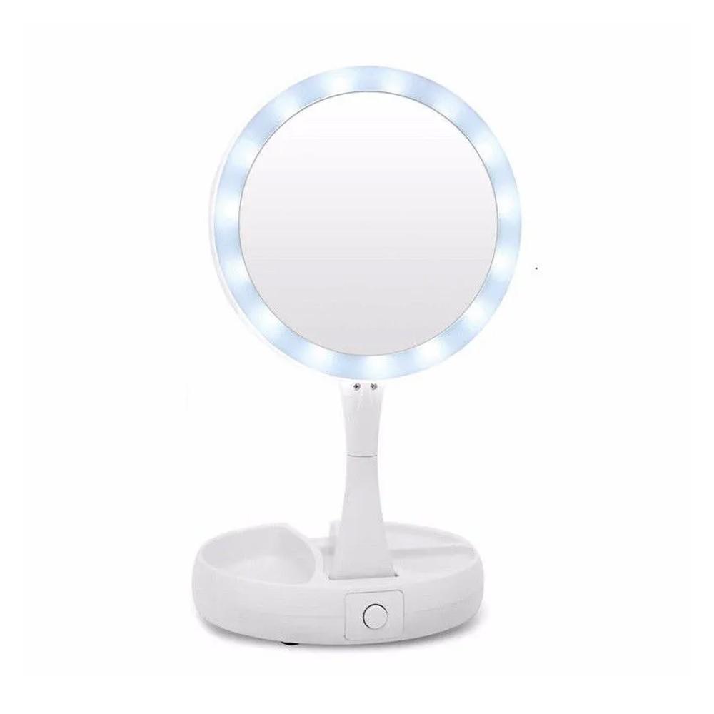 Espelho Dupla Face Porta Maquiagem Dobrável LED  - Mundo Thata