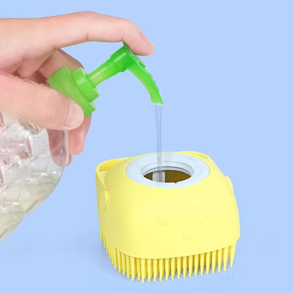 Esponja de Silicone Para Banho Massageador Dispenser Shampoo  - Mundo Thata