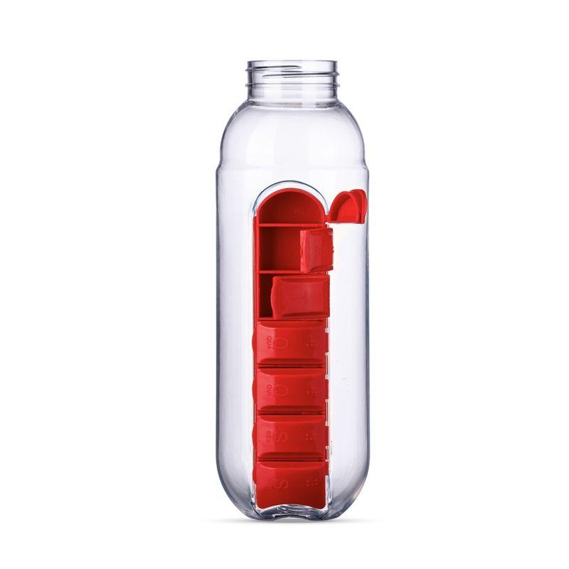Garrafa Organizador Porta Comprimido Medicamentos Pílulas 600 ml Água 7 Compartimentos  - Mundo Thata