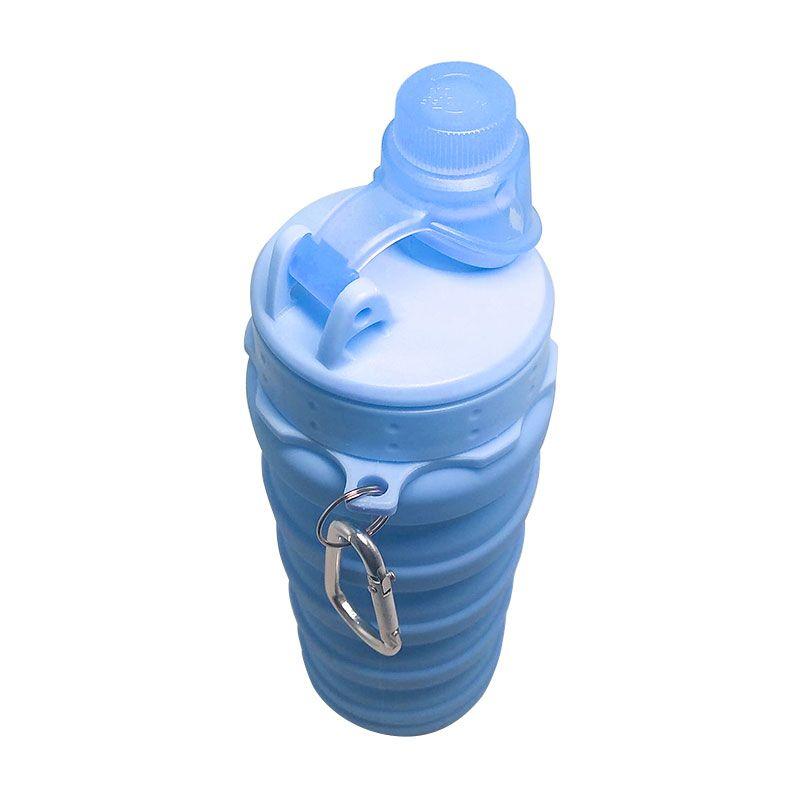 Garrafa Silicone Dobrável Retrátil 500 mL Tampa Rosca com Mosquetão Azul  - Mundo Thata