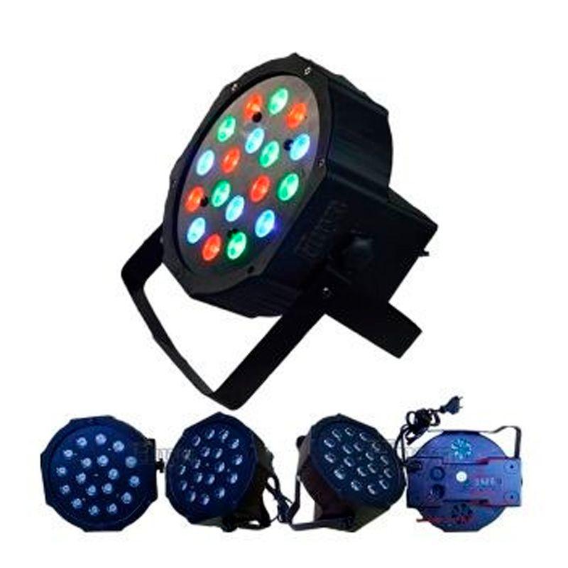 Iluminador de Palco Projetor Dj Flat Par Light 18 Leds Rgb Dmx Sound para Festa  - Thata Esportes
