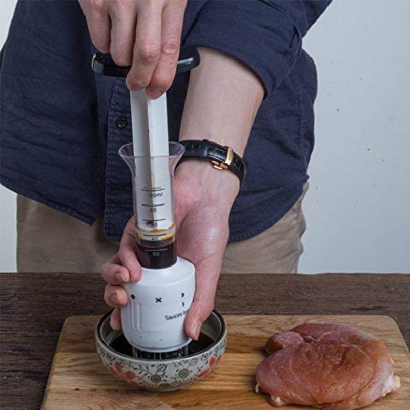 Injetor de Molhos Marinadas Temperos para Carne Profissional Aço Inox  - Thata Esportes