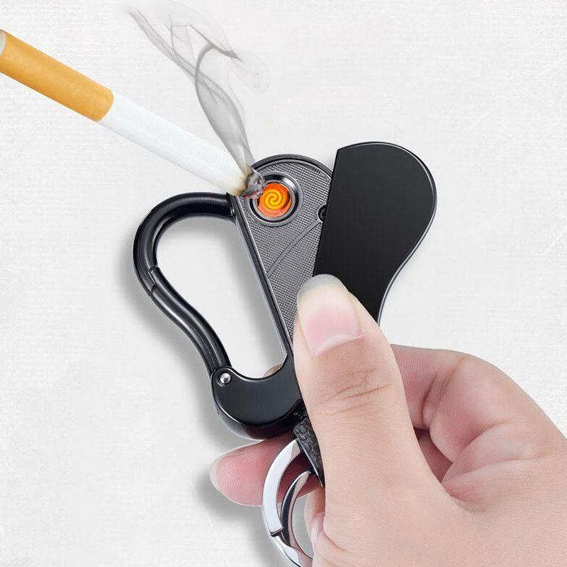 Isqueiros Elétrico Chaveiro Mosquetão Recarregável USB Trava de Proteção À Prova de Vento Dourado  - Mundo Thata
