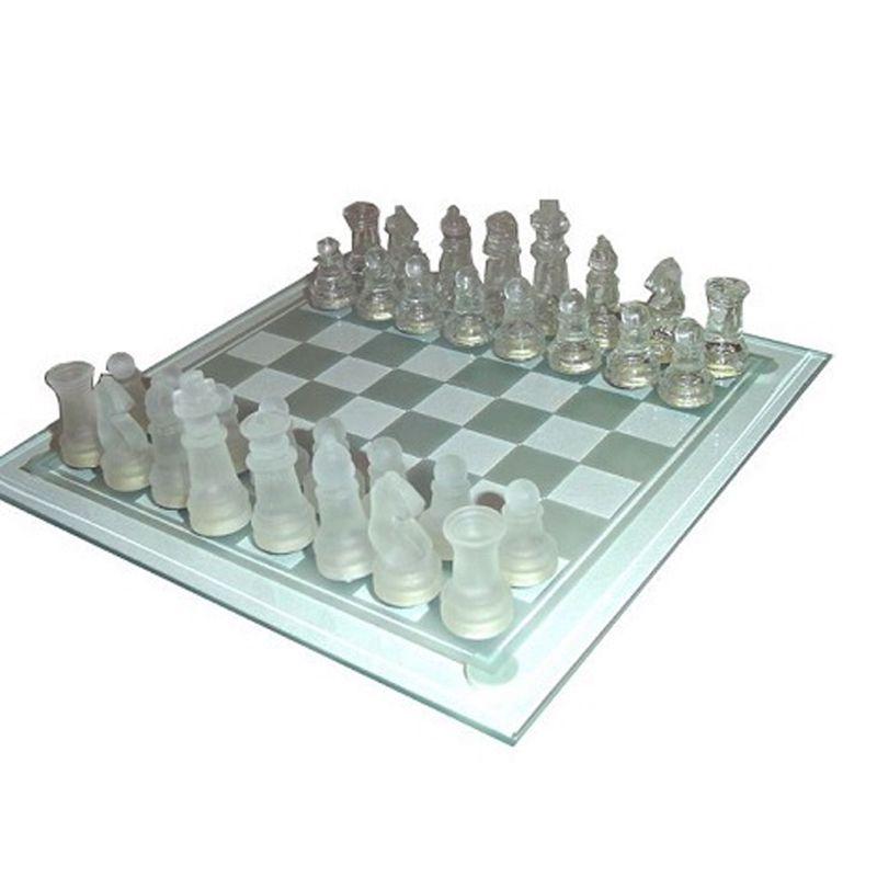 Jogo de Xadrez Tabuleiro em Vidro   - Thata Esportes