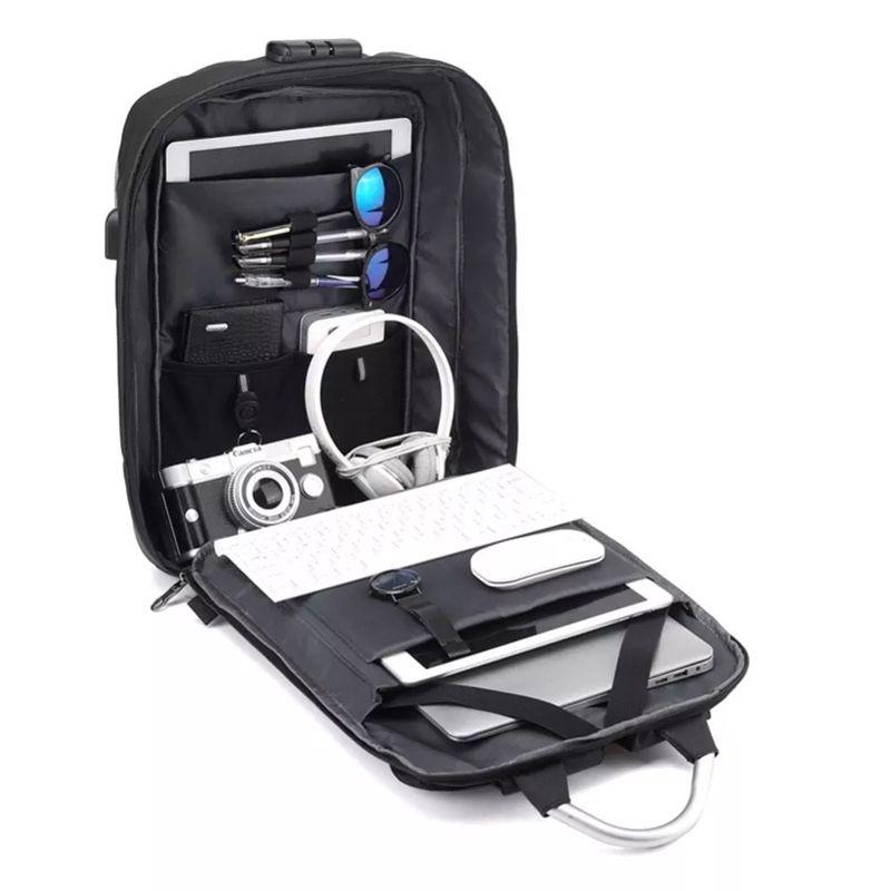 Kit 11 Mochilas Anti Furto Preta Impermeável Cadeado Alças de Metal Notebook USB  - Mundo Thata