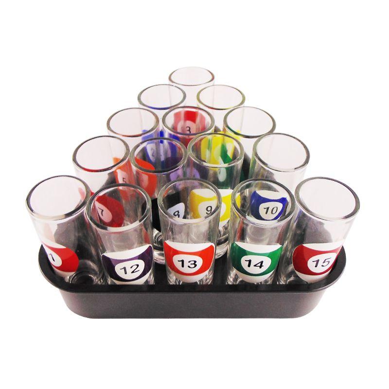 Kit 15 Copos Shot de Bilhar Sinuca Snooker  - Mundo Thata