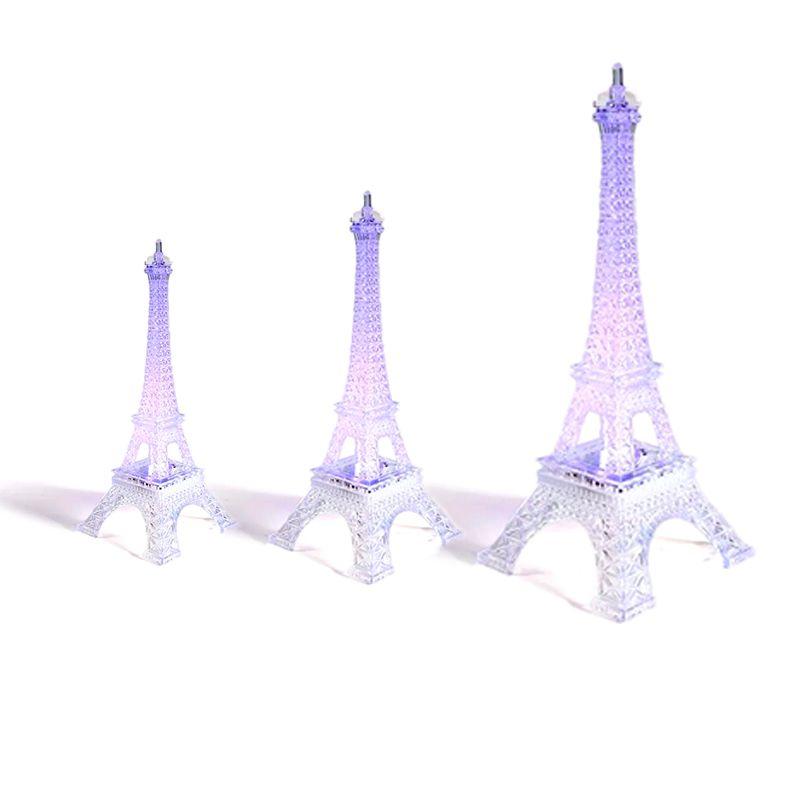 Kit 3 Enfeite Decoração Torre Eiffel Iluminada LED Abajur Luminária 12cm  19cm  25 cm  - Mundo Thata