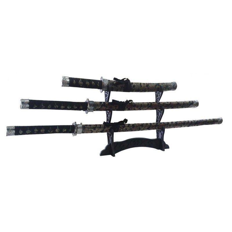 Kit 3 Espadas Samurai com Suporte de Mesa  - Thata Esportes