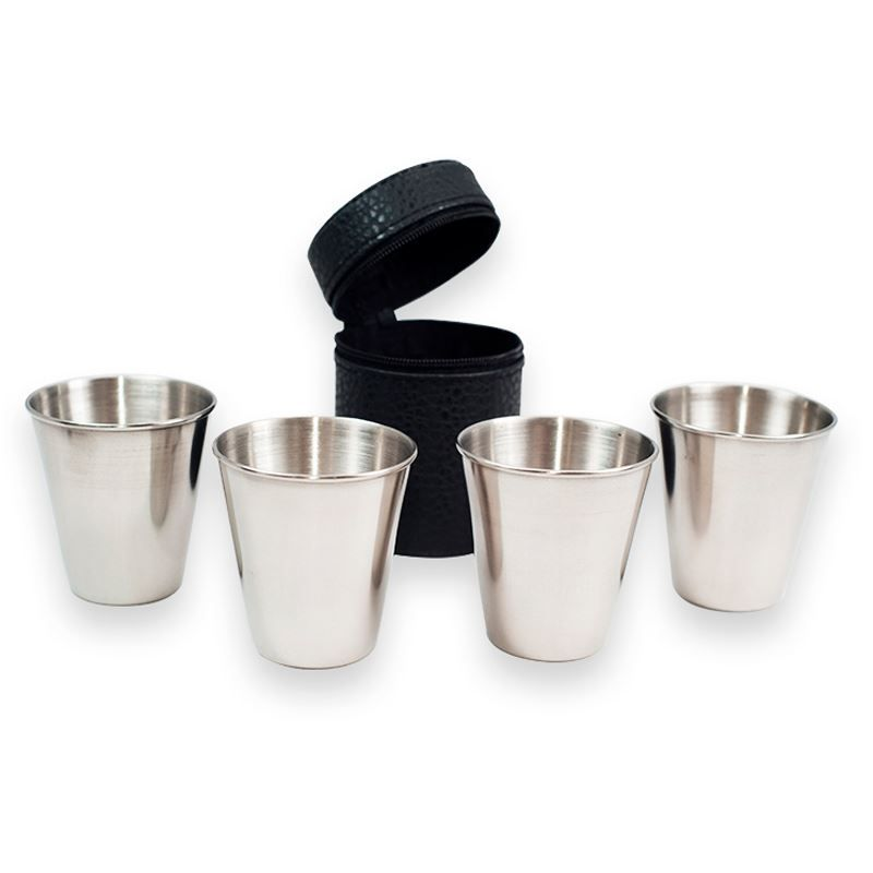 Kit 4 Copos Metal de Bebida 180ml Capa Protetora   - Thata Esportes