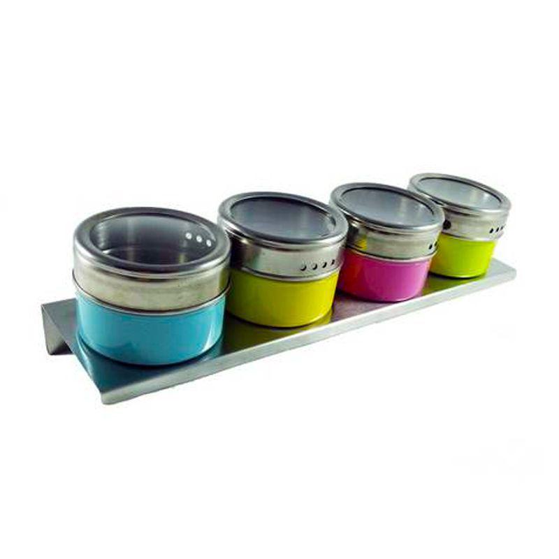 Kit 4 Organizadores Porta Temperos Magnético Colorido Inox  - Thata Esportes