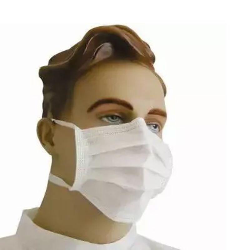 Kit 50 Máscaras Descartáveis Tripla com Tiras para Amarrar Clipe Nasal Anvisa  - Mundo Thata
