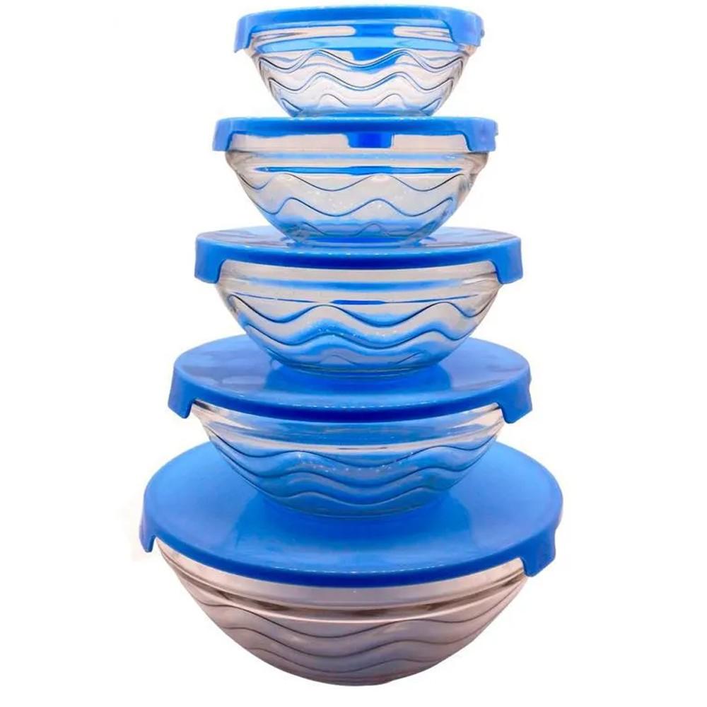 Kit 5 Potes de Vidro com Tampa  - Mundo Thata