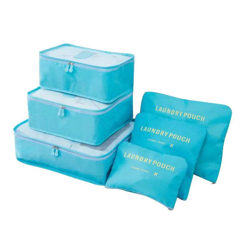 Kit 6 Sacos Bolsas Organizador Mala Roupas Bagagem Viagem Azul Claro 2  - Mundo Thata