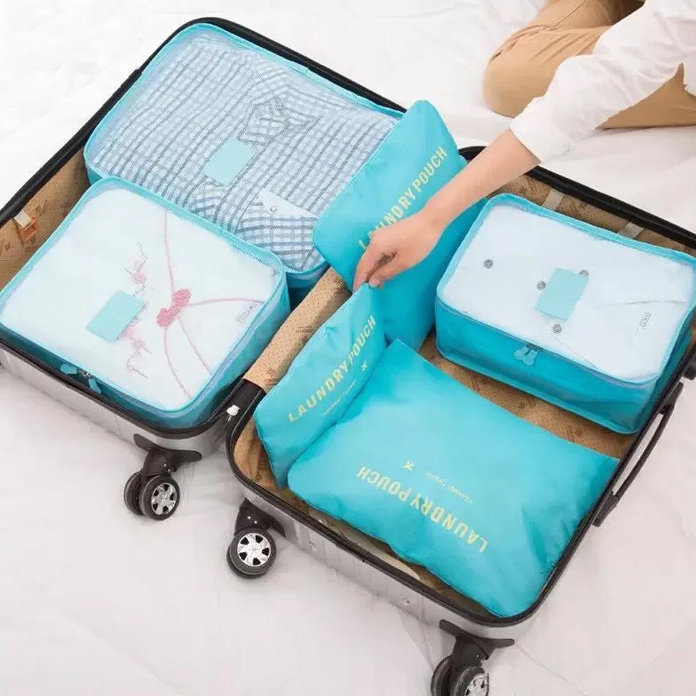 Kit 6 Sacos Bolsas Organizador Mala Roupas Bagagem Viagem Azul Claro  - Mundo Thata