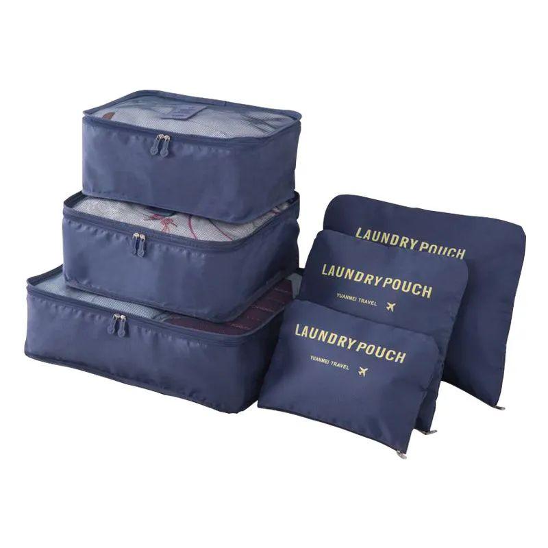 Kit 6 Sacos Bolsas Organizador Mala Roupas Bagagem Viagem Azul Escuro 2  - Mundo Thata