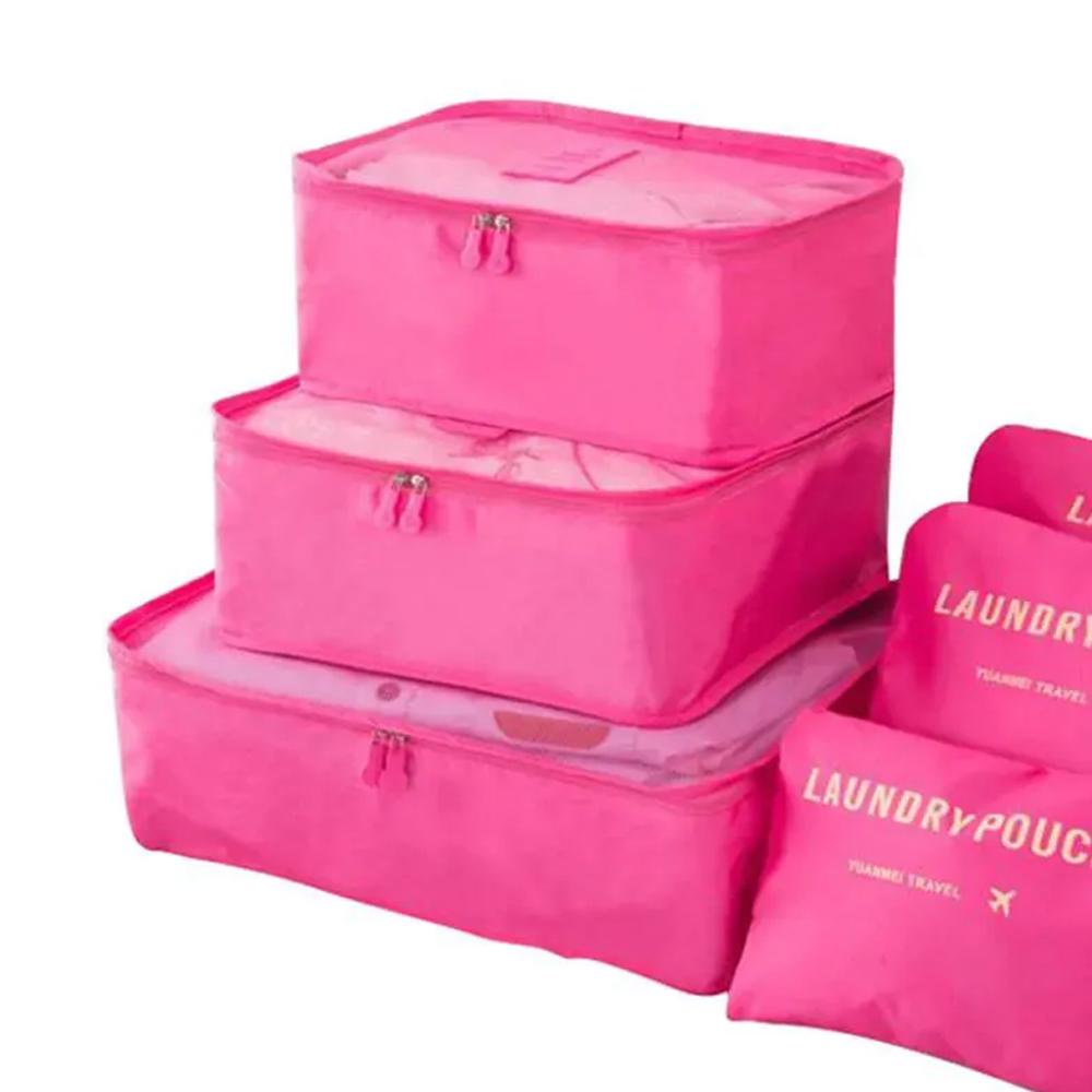 Kit 6 Sacos Bolsas Organizador Mala Roupas Bagagem Viagem Rosa 2  - Mundo Thata