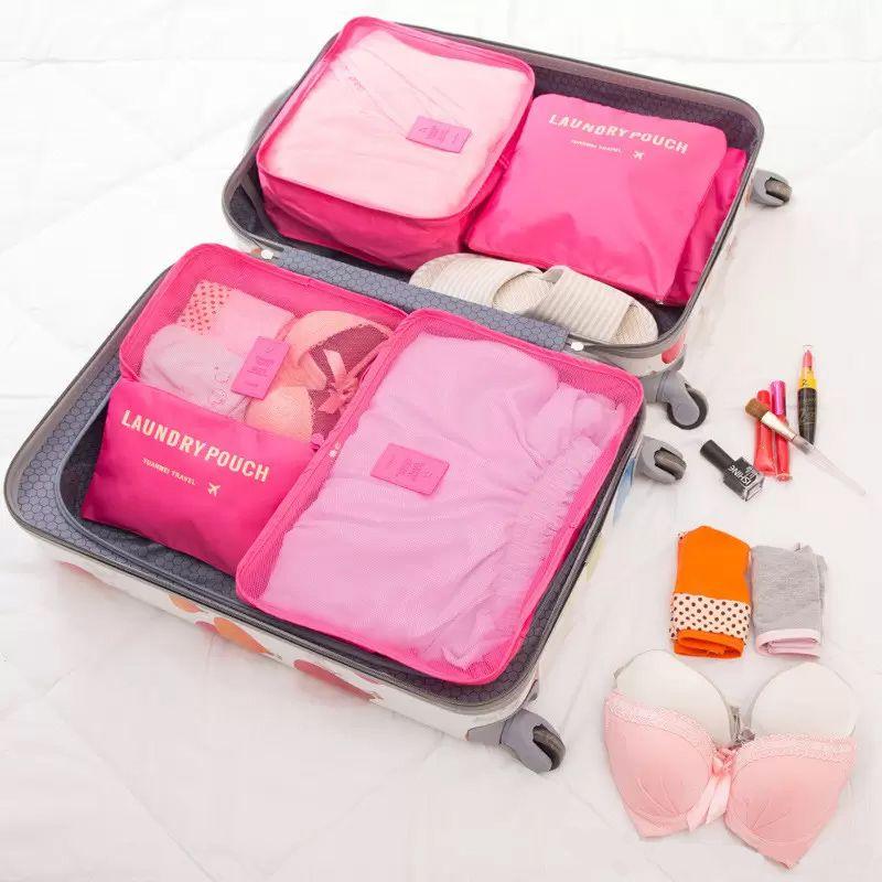 Kit 6 Sacos Bolsas Organizador Mala Roupas Bagagem Viagem Rosa  - Mundo Thata