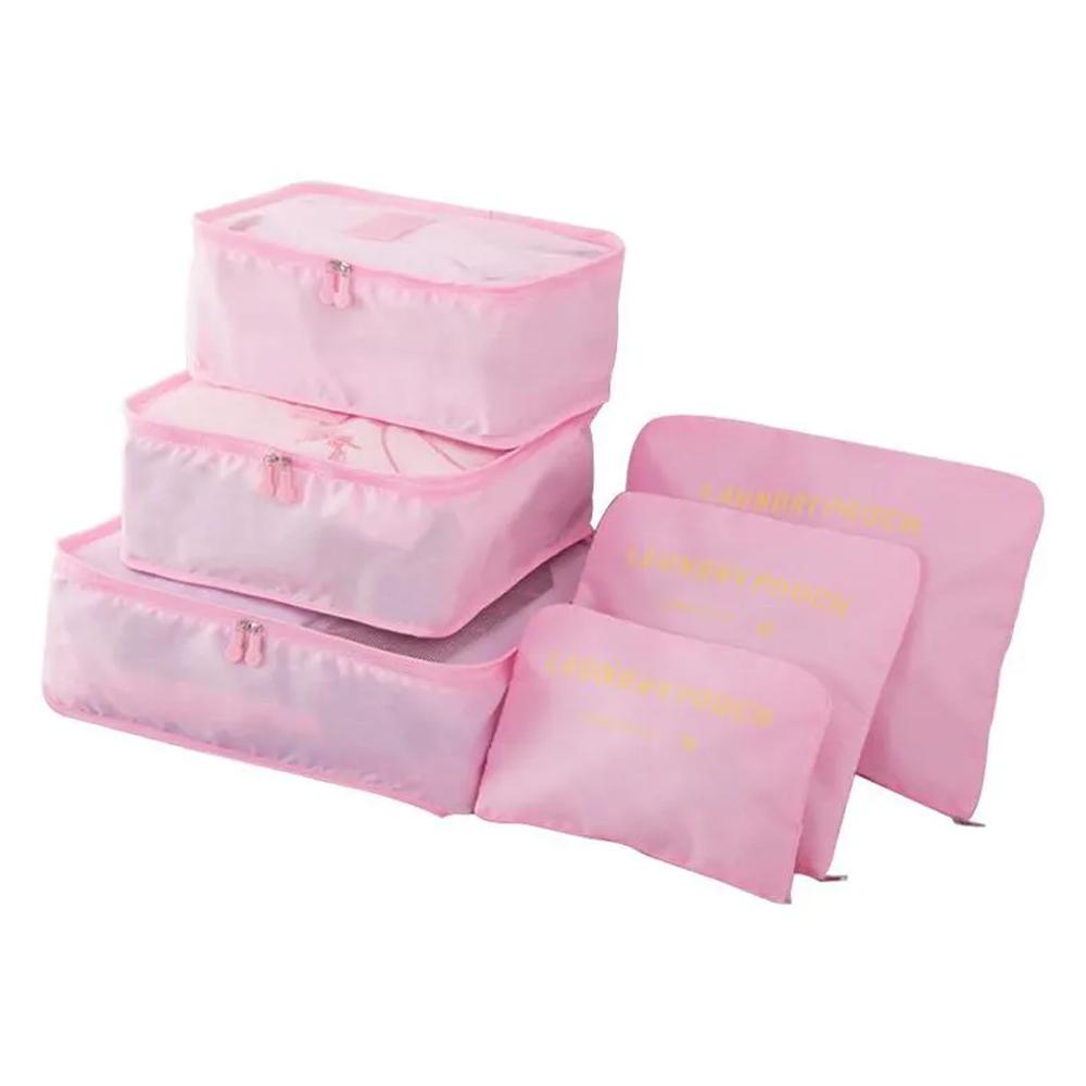 Kit 6 Sacos Bolsas Organizador Mala Roupas Bagagem Viagem Rosa Claro 2  - Mundo Thata
