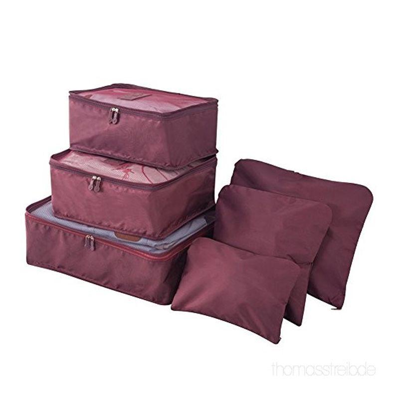 Kit 6 Sacos Bolsas Organizador Mala Roupas Bagagem Viagem Roxo  - Mundo Thata