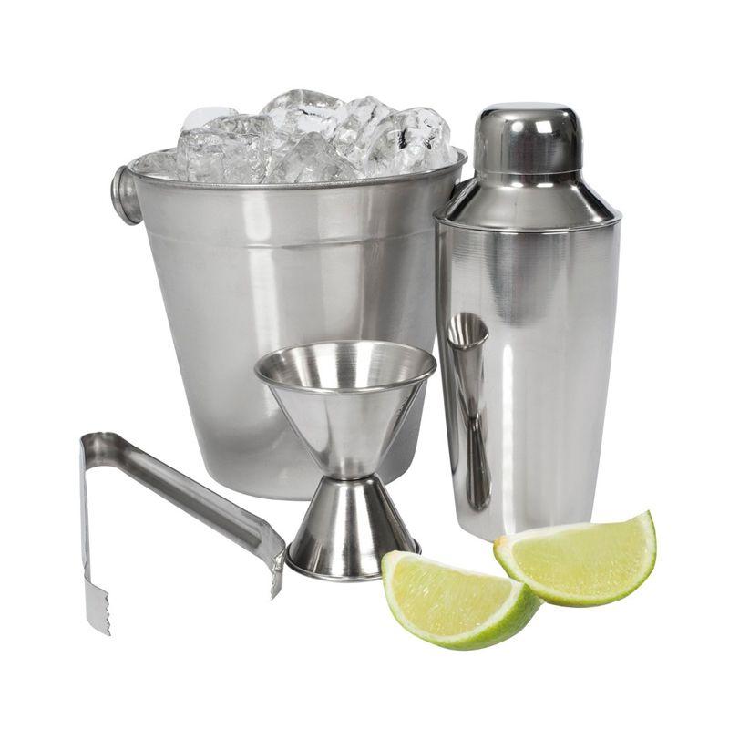 Kit Bar 4 Peças Balde de Gelo Coqueteleira Pegador Dosador Duplo Bebida Drink Linha Luxo  - Mundo Thata