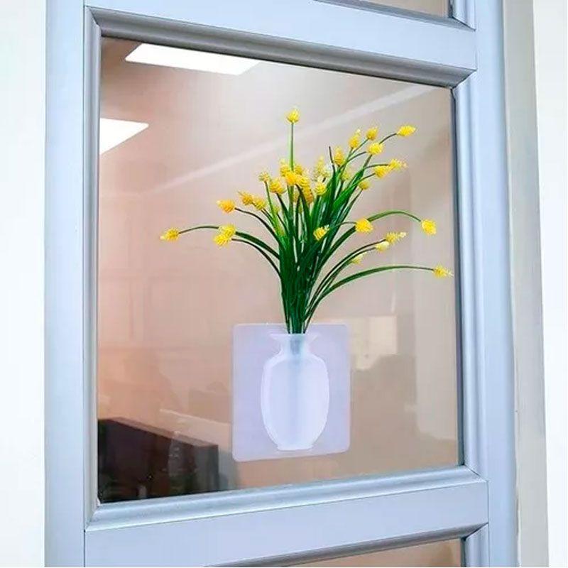 Kit com 2 Vasos Adesivos de Silicone para Parede Flor Planta Decoração  - Mundo Thata