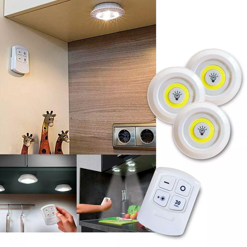 Kit com 3 Lâmpadas LED Luminária Com Controle Remoto  - Mundo Thata
