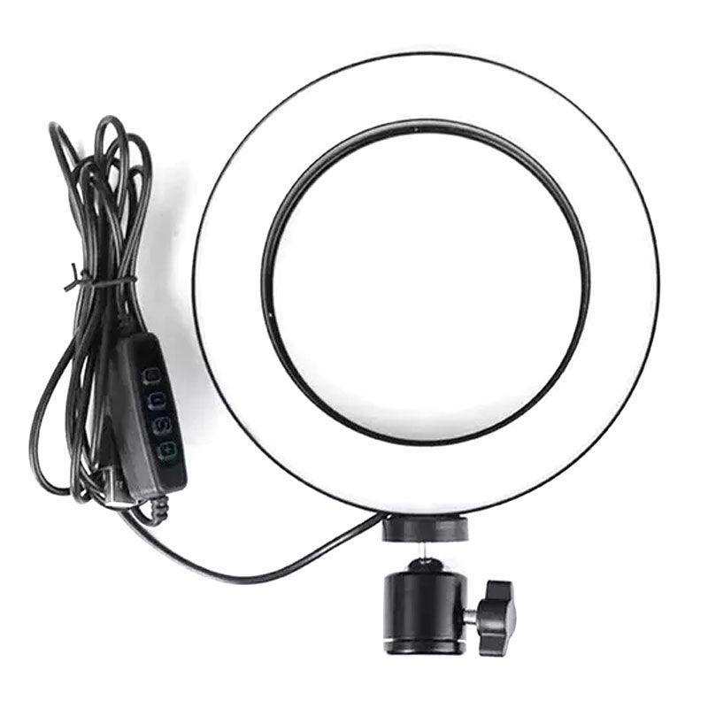 Kit com Iluminador LED Ring 16 cm Tripé de Iluminação Foto Video  - Thata Esportes