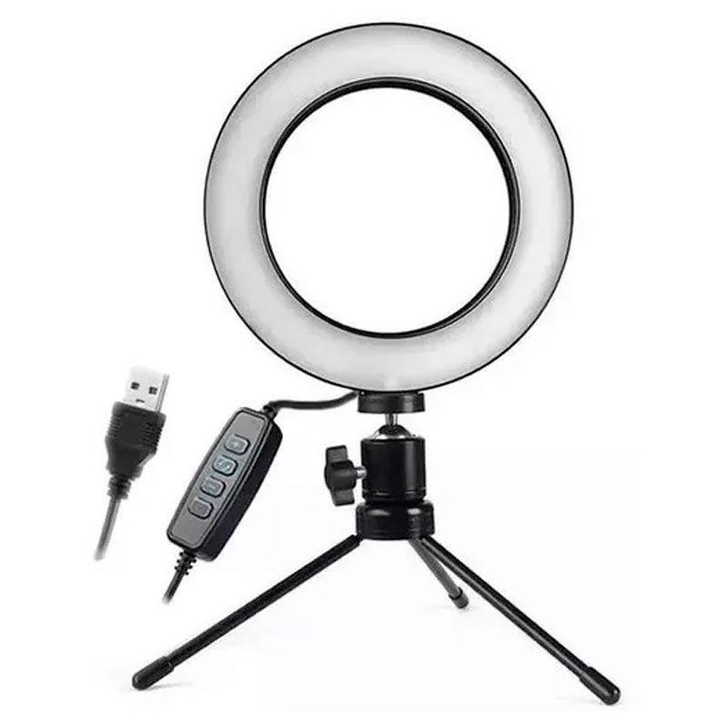 Kit com Iluminador LED Ring 16 cm Tripé de Iluminação Foto Video  - Mundo Thata