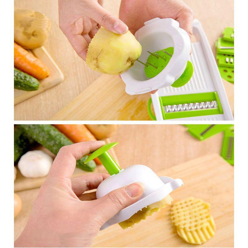 Kit Cortador Ralador Fatiador Multifuncional Vegetais Legumes Verduras Cozinha 5 Lâminas  - Thata Esportes