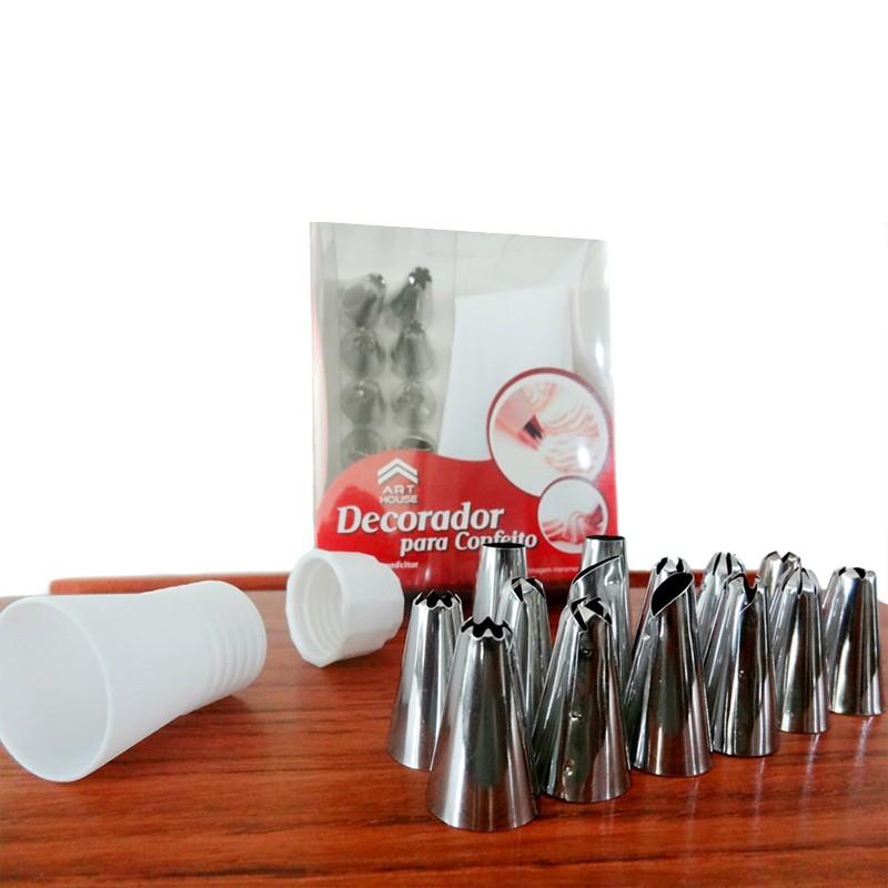 Kit 12 Bicos com Bisnaga Confeiteiro Decorador Bolo CupCake Torta  - Thata Esportes