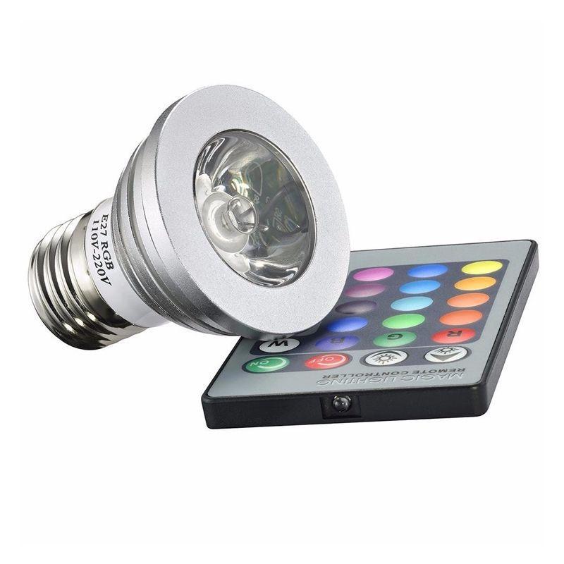 Lâmpada LED RGB 16 Cores Com Controle Remoto 3W  - Thata Esportes