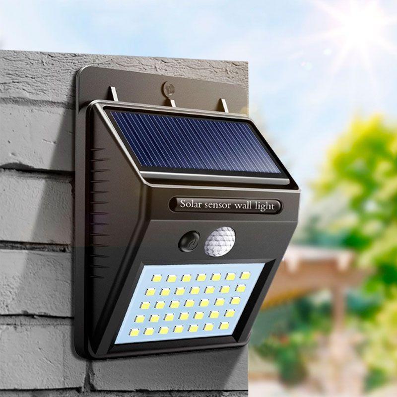 Lâmpada Luminária Solar de Parede A Prova de Água com Sensor de Presença Pequena  - Mundo Thata
