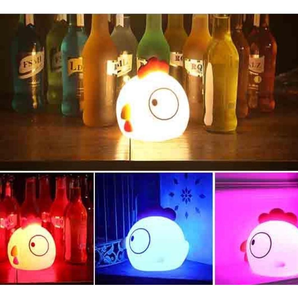 Luminária Abajur Noturna Portátil Colorido de Silicone com Formato de Frango/Galinha Recarregável Carregamento USB  - Mundo Thata