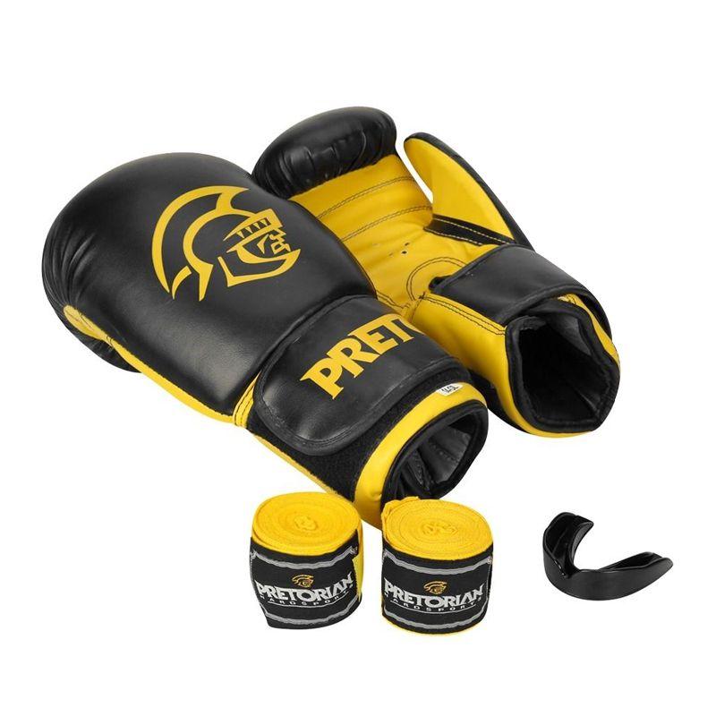 Luva de Boxe Muay Thai Pretorian Com Bandagem Protetor Bucal Treinamento Tamanho 10 OZ  - Mundo Thata