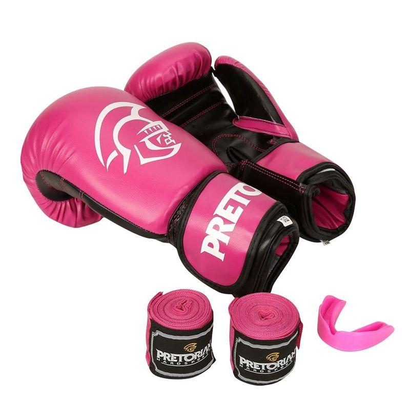 Luva de Boxe Muay Thai Pretorian Com Bandagem Protetor Bucal Treinamento Tamanho 14 OZ  - Mundo Thata