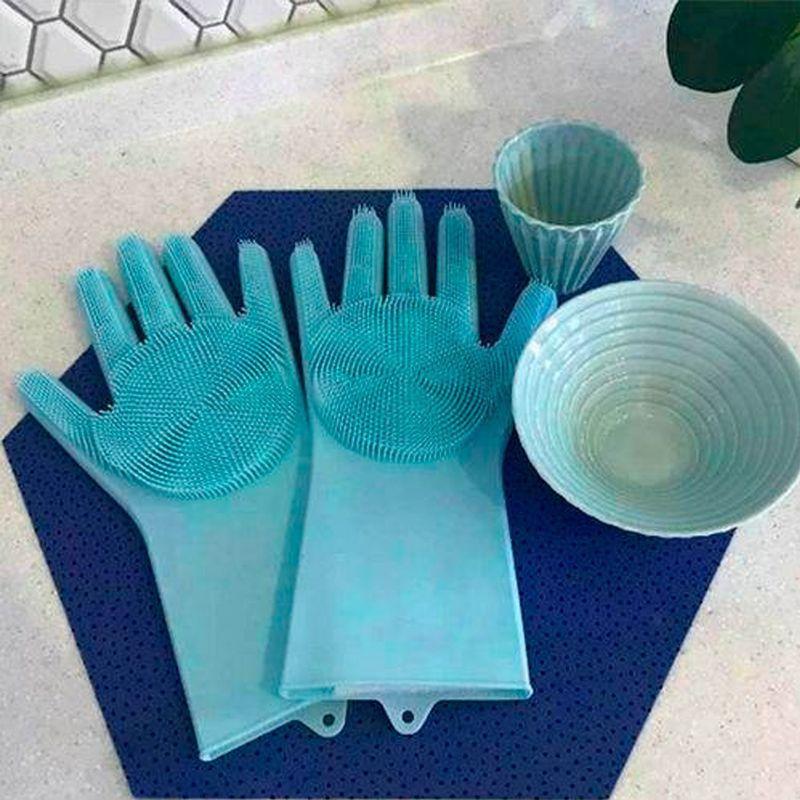 Luva Silicone Lava Louça Anti Térmica Azul  - Thata Esportes
