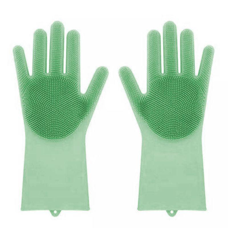Luva Silicone Lava Louça Anti Térmica Verde  - Thata Esportes