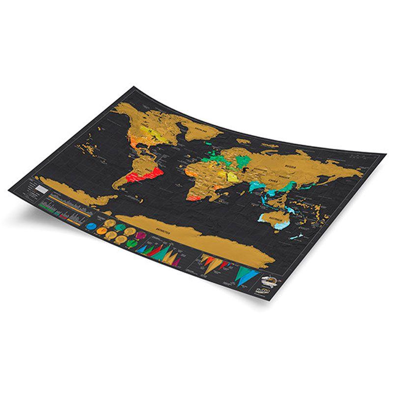 Mapa Pôster Scratch Off Versão Luxo Guia de Viagem Aventura Enfeite Decoração  - Mundo Thata