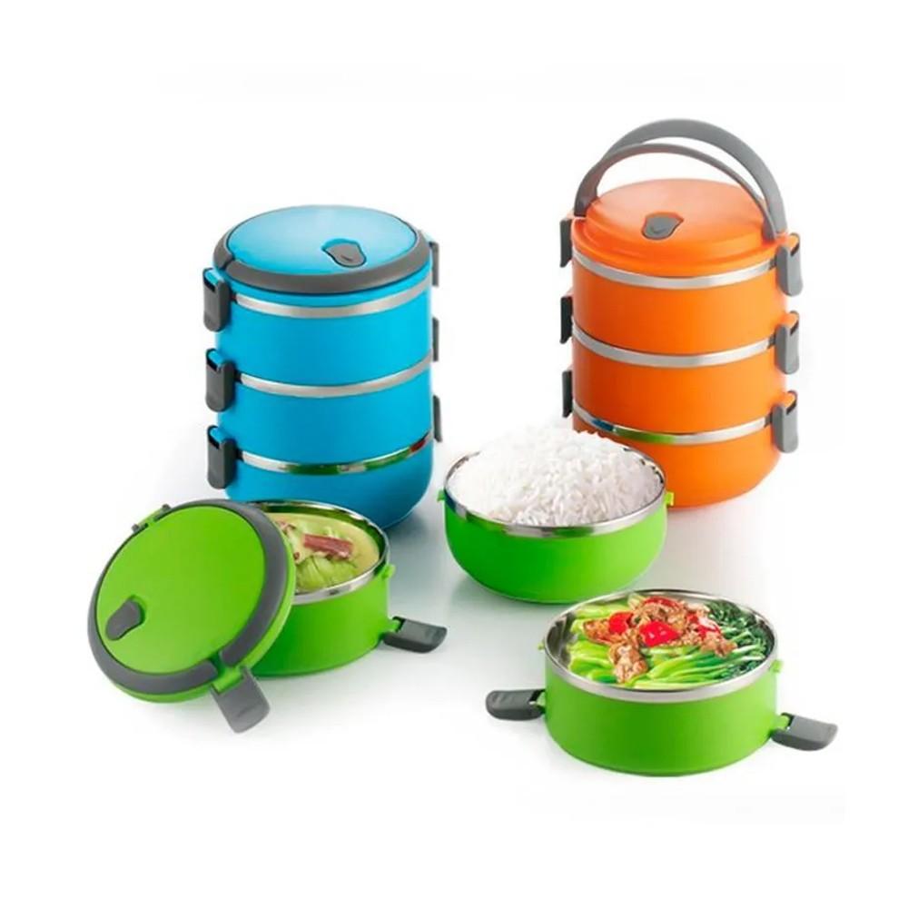 Marmita Lancheira Térmica Lunch Box Hermético 3 Compartimentos Banho Maria  - Mundo Thata