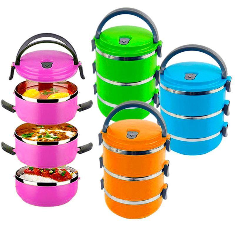 Marmita Lancheira Térmica Lunch Box Hermético 3 Compartimentos Banho Maria  - Thata Esportes