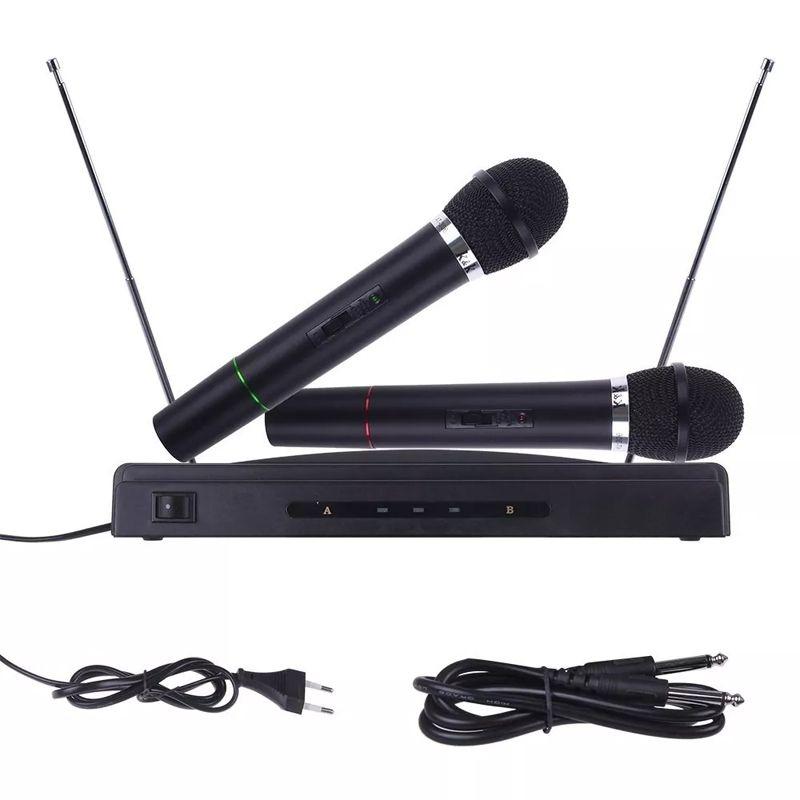 Microfone Sem Fio 2 FM Receptor Palestra Escola Igreja 110V  - Thata Esportes