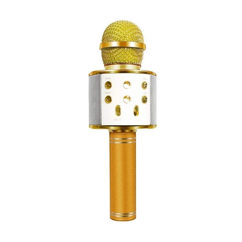 Microfone Sem Fio Bluetooth Karaokê WS 858 Gravador Com Som Dourado  - Mundo Thata