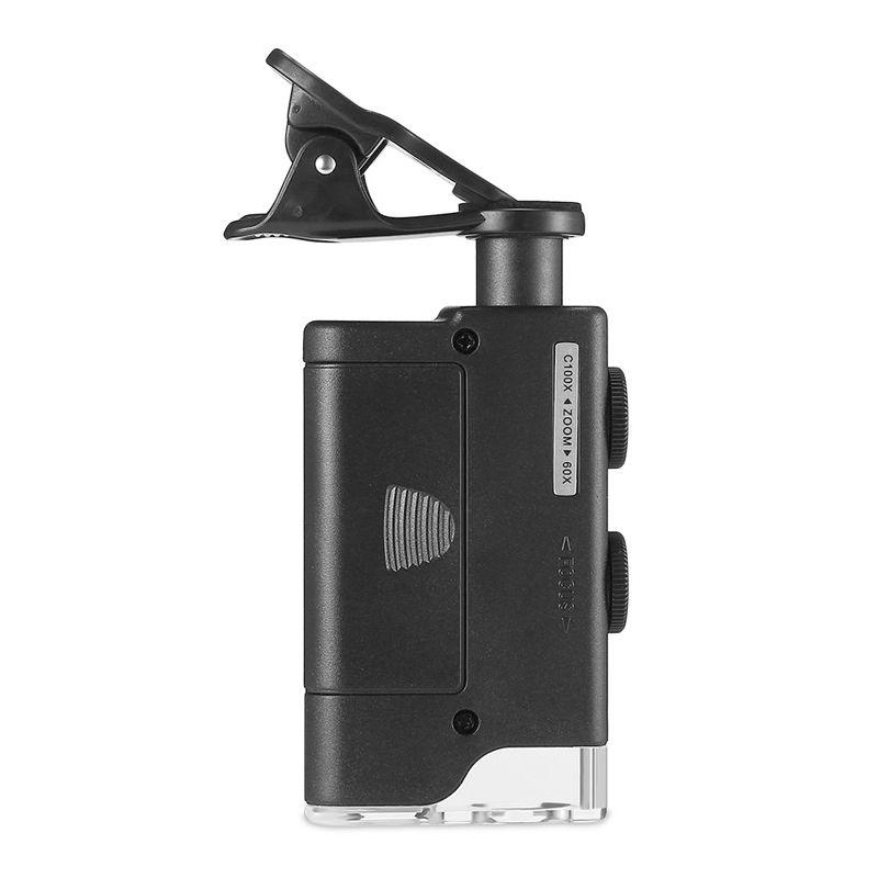 Microscópio Clip Para Celular Zoom 60-100X Luz LED UV à Pilha Ajuste Foco Case  - Mundo Thata