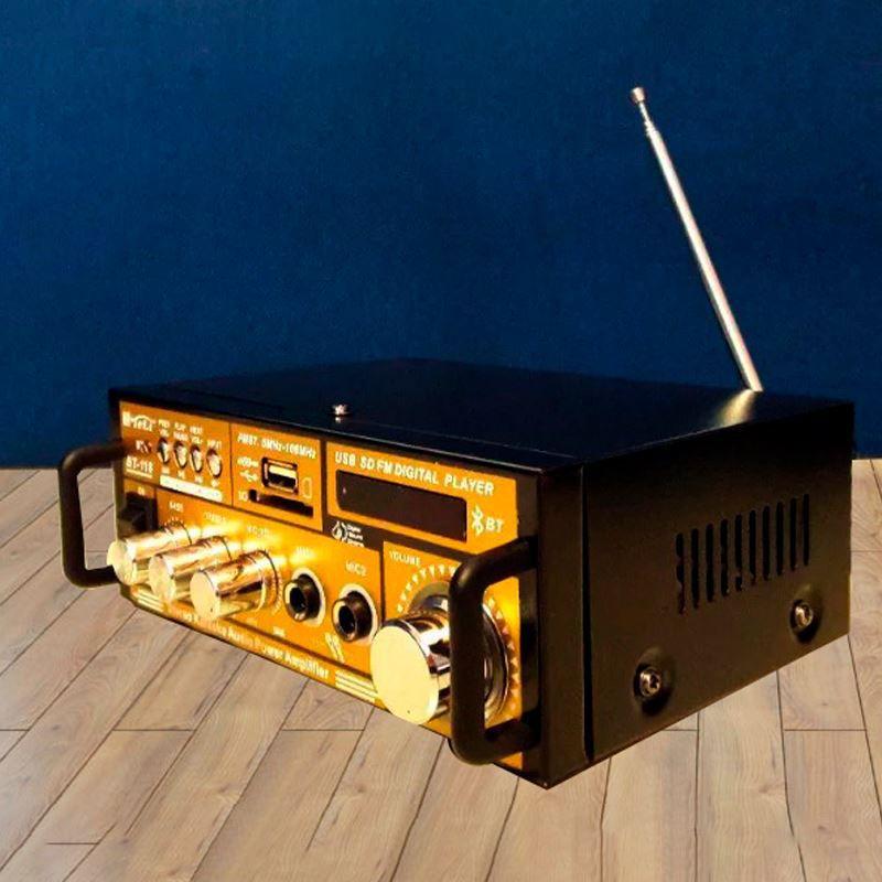 Mini Amplificador com Bluetooth - Karaokê Stereo Áudio Mp3 / USB / SD / FM Digital Player  - Thata Esportes