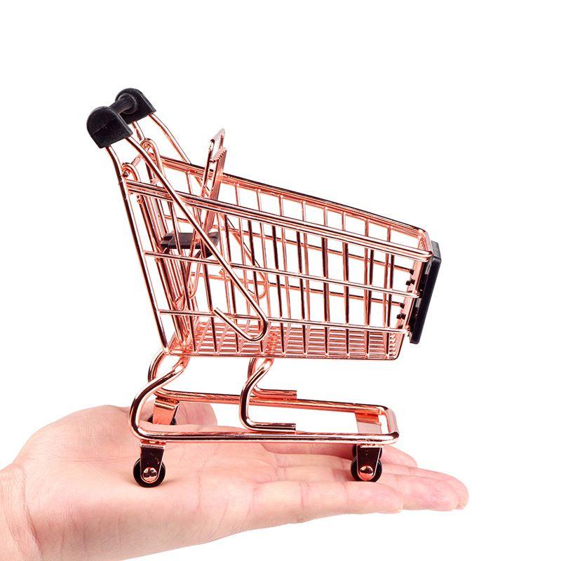 Mini Carrinho de Supermercado Compras Metal Porta Treco Decoração Casa Cozinha Quarto  - Mundo Thata