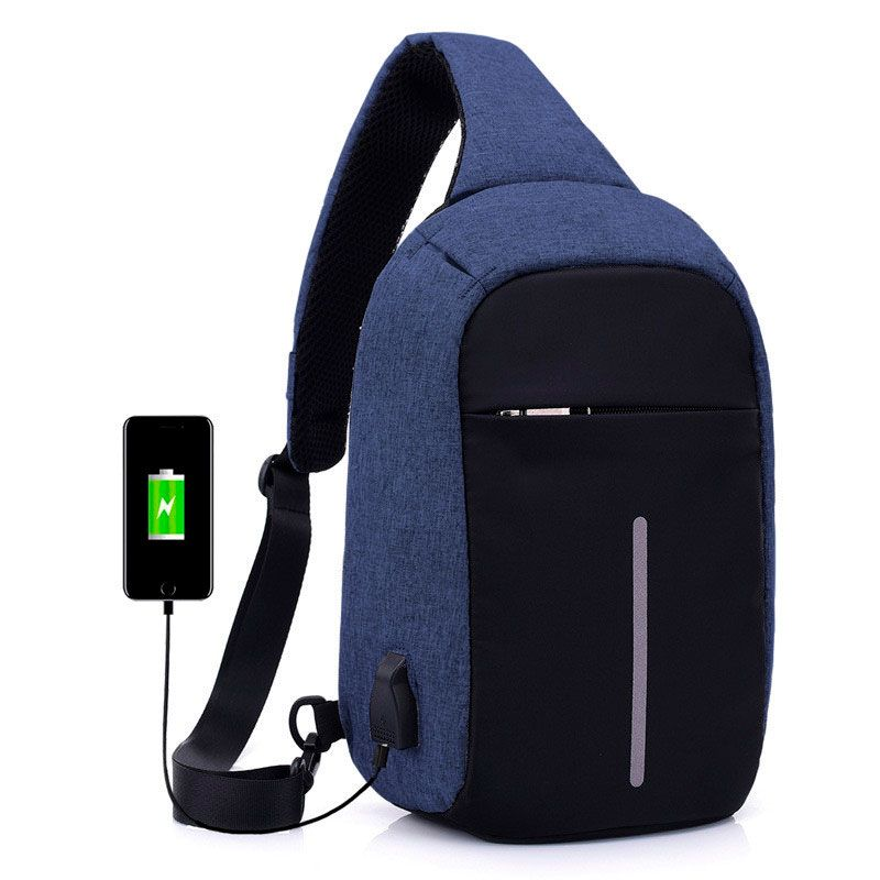 Mini Mochila Anti Furto Bolsa Mala Transversal Cross Body USB Tablet Alça Única Azul  - Mundo Thata