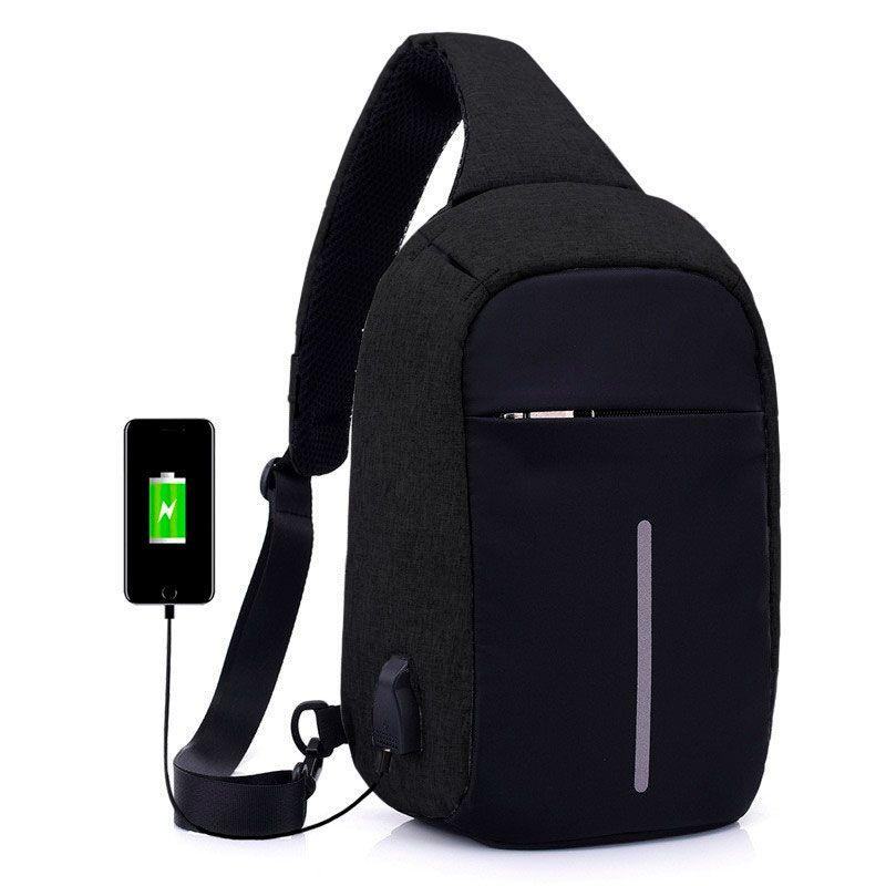 Mini Mochila Anti Furto Bolsa Mala Transversal Cross Body USB Tablet Alça Única Preta  - Mundo Thata